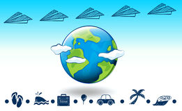 Travelling around the globe. Illustration of a travel around the globe Stock Photography