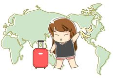 Travelling around the world. A girl  is ready to have a trip with her dark pink suitcases Stock Photo
