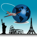 Travelling around the world. Abstract colorful illustration with passenger plane travelling around the world and a few important landmarks from all over the Stock Image