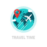 Travelling around world by plane vector, travel and trip logo Stock Photography