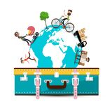 Travelling Around the World. Vector Travel Concept with Suitcase royalty free illustration
