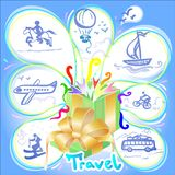 Travelling as a subject in a beautiful holiday gift package Royalty Free Stock Photography