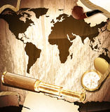 Travelling background. With antique brass telescope, rope, vintage pocket watch and pipe at world map wooden background Stock Photo