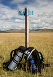 Travelling with backpack. Two backpack in the middle of steppe in Mongolia royalty free stock images