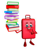 Travelling bag Chatacter with Books pile Stock Photo