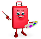 Travelling bag Chatacter with Color plate Stock Photos