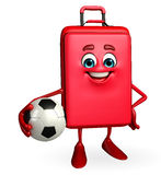 Travelling bag Chatacter with football Royalty Free Stock Photo