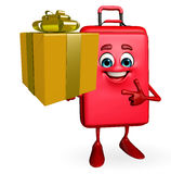Travelling bag Chatacter with gift box Stock Photography