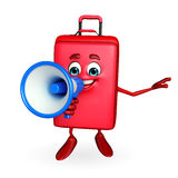 Travelling bag Chatacter with Loudspeaker Stock Image