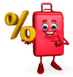 Travelling bag Chatacter with Percentage Royalty Free Stock Images