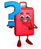 Travelling bag Chatacter with question mark sign Royalty Free Stock Photography