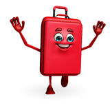 Travelling bag Chatacter is running Royalty Free Stock Photo