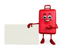 Travelling bag Chatacter with sign Royalty Free Stock Photos