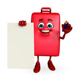 Travelling bag Chatacter with sign Royalty Free Stock Photo