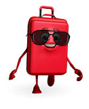 Travelling bag Chatacter with sun glasses Stock Photography
