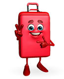 Travelling bag Chatacter with victory sign Royalty Free Stock Photography