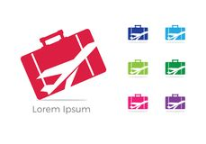 Travel logo design, Holiday bag and airplane icon, business trip, tourism, plane  illustration. Travelling bag  icon, holiday or business trip logo design Stock Photo