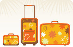 Travelling bags - orange. Travel luggage set in three different sizes Royalty Free Stock Photos