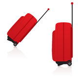 Travelling bags - Red Side. From two different angles of the red travel suitcase Royalty Free Stock Photography
