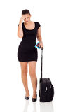 Travelling businesswoman headache Stock Photography