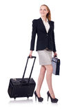 Travelling businesswoman isolated Stock Images