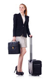 Travelling businesswoman isolated Stock Photography