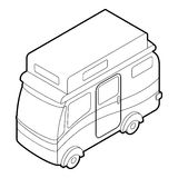 Travelling camper icon, outline style Stock Image