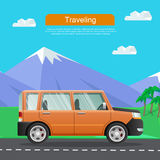 Travelling by Car. Auto on Road near Mountains. Royalty Free Stock Photos
