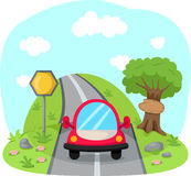 Travelling car on country road. Illustration of traveling car on country road Royalty Free Stock Images