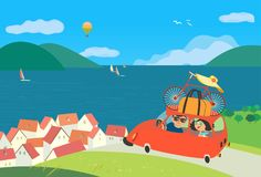 Travelling by car. Icon. Young happy travellers couple take a trip to sea beach journey. Summer vacation touring for beach fun and sport activity. Cute cartoon vector illustration