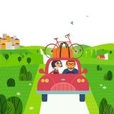 Travelling by car. Concept. Young happy travellers take a trip outside city to nature. Family couple enjoy the journey. Summer vacation touring by auto. Cute Royalty Free Stock Image