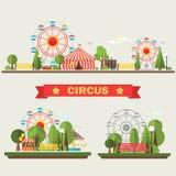 Travelling carnival amusement park show fair  festive set . Vector illustration Royalty Free Stock Images