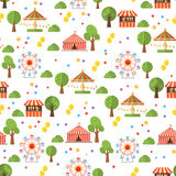 Travelling carnival amusement park show fair seamless pattern Royalty Free Stock Image