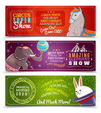 Travelling circus flat horizontal banners set Royalty Free Stock Images