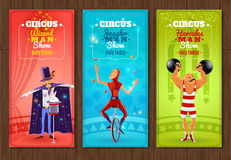 Travelling circus show flat banners set Royalty Free Stock Images
