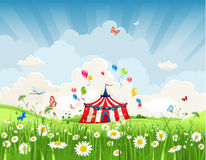 Travelling circus. Under blue sky Stock Images