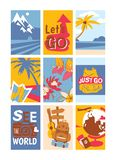 Travelling concept set of banners vector illustration. See the world. Just go. Let s go. Sunny beaches with palm trees. With coconuts. Rucksack for travelers stock illustration