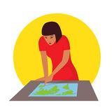 Travelling concept. Woman planning journey searching a map. Vector illustration Stock Image