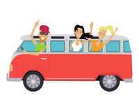 Travelling Conceptual Banner. People Travel by Bus. Group of young teenagers traveling in vintage bus. Happy boys and girls waving hands from the bus. Vector Stock Images