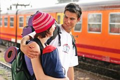 Travelling couple Stock Images