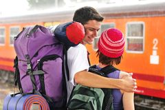 Travelling couple Stock Photo