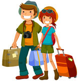 Travelling couple. Man and woman traveling together Stock Images