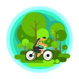 Travelling cyclist vector. Vector illustration of a cyclist traveling through scenic spots alone Stock Images