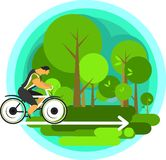 Travelling cyclist. Vector illustration of a cyclist traveling through scenic spots alone Royalty Free Stock Photography