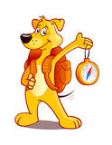 Travelling dog. Cartoon dog with rucksack and compass Royalty Free Stock Photo