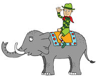 Travelling with Elephant. A man riding a big elephant Stock Images
