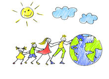 Travelling  family. Childs drawing happy family pushes the globe Royalty Free Stock Photo