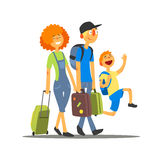Travelling Family Going On Vacation Stock Photos