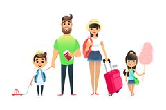 Travelling family people waiting for airplane or train. Cartoon dad, mom and child traveling together. Young cartoon. Couple, girl and boy go on vacation with Stock Image