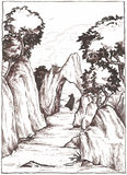 Travelling by feet. Man walking in a mountain landscape. Black and white illustration painted with ink Stock Photos